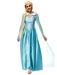 cheap -Princess Fairytale Elsa Cosplay Costume Movie Cosplay Blue Leotard/Onesie Cloak Halloween New Year Terylene