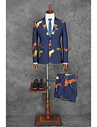 cheap -Dark Blue Patterns Standard Fit Polyester Suit - Notch Single Breasted Two-buttons