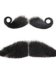 neitsi cabelo humano falso partido bigode traje elegante mista bigode engraçado vestido extravagante