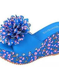 Da donna Sandali Pelle di maiale Estate Casual Floreale Zeppa Beige Blu 7,5 - 9,5 cm