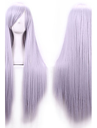 Недорогие -жен. Парики из искусственных волос Длиный Прямой силуэт # 8 Серый Льняной Вода Синий Дым синий Боковая часть С чёлкой Парик для Хэллоуина