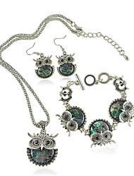 Women's European Style Fashion Cute Owl Earrings Bracelet Necklace Set