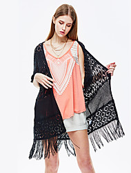 cheap -Women's Going out Cardigan - Solid Colored / Spring / Fall / Tassel / Lace
