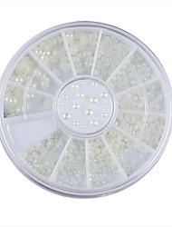 abordables -3 tamaños del arte del clavo de la perla blanca rueda de la decoración de diamantes de imitación