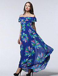 Women's Off The Shoulder|Ruffle Beach / Plus Size Boho Chiffon Dress,Print Asymmetrical Maxi Sleeveless Blue Spandex Summer