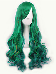 cheap -Green/Yellow Lolita Ombre Wig Pelucas Pelo Natural Synthetic Wigs Heat Resistant Perruque Cosplay Wigs Curly Peruca