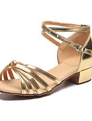 Kids' Dance Shoes Leather Leather Latin Heels Flat Heel Practice / Indoor Silver / Gold