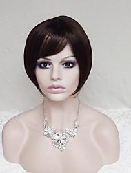 abordables -Pelucas sintéticas Recto Corte Bob / Con flequillo Pelo sintético Entradas Naturales Marrón Peluca Mujer Corta Sin Tapa