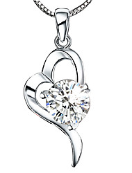 cheap -Women's Heart Shape Love Heart Pendant Necklace Sterling Silver Crystal Silver Pendant Necklace Wedding Birthday Thank You Daily Casual