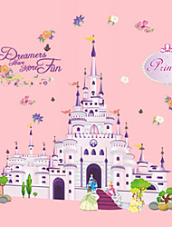 Cartoon Princess Castle Fairy Tale World Kids Bedroom Wall Stickers Fashion Flowers Wall Decals