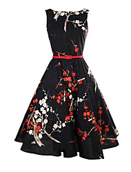cheap -Women's Vintage Sheath Dress - Floral, Vintage Style