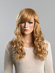 cheap -Top Long Wavy Honey Blonde Human Hair Wigs