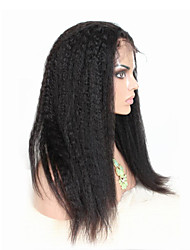 "8""-26"" Indian Virgin Hair Kinky Straight Glueless Lace Front Wig Color Natural Black Baby Hair for Black Women"