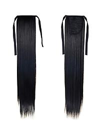 sintetico posticci coda di cavallo 22inch 55 centimetri 100g # estensioni dei capelli lunghi 1 colore nero naturale