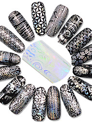 cheap -1set 16pcs 20*4cm Nail Transfer Foil Laser Glitter Colorful Image Stickers B01-16