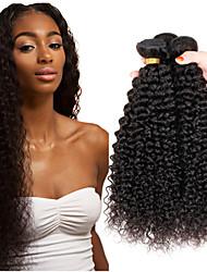 Недорогие -3 Связки Индийские волосы Афро Kinky Curly 10A Не подвергавшиеся окрашиванию Человека ткет Волосы 8-26 дюймовый Ткет человеческих волос Пролить бесплатно Tangle Free Толстый конец волос