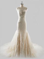 Sereia / trompete ilusão decote tribunal trem laço vestido de casamento de tule com beading por drrs