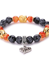 New Arrival Natural Buddha Agate Bracelet With Love Pendant  Beads Bracelet  #YMGS1030