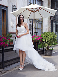 A-Line Sweetheart Asymmetrical Organza Wedding Dress with Crystal by LAN TING BRIDE®