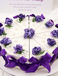 Cylinder Card Paper Favor Holder With Flowers Ribbons Bow Favor Boxes-10