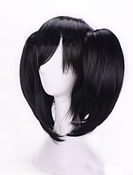 cheap -Costume Wigs / Synthetic Wig Straight / Deep Wave Asymmetrical Haircut Natural Hairline Black Women's Capless Cosplay Wig Short Synthetic