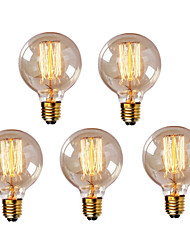 abordables -HRY 5pcs 40W E26 / E27 G95 Blanco Cálido 2300k Retro Regulable Decorativa Bombilla incandescente Vintage Edison 220-240V