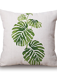 1Pcs Green Plants Leaf Pattern Cotton Pillow Cover