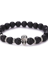 cheap -Volcanic Stone Beads Strand Bracelet - Skull Vintage, Fashion Bracelet Black For Christmas Gifts / Party / Daily