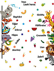 cheap -Cartoon Animals Zoo Tiger Snake Zebra English Words Wall Stickers DIY Kindergarten Children's Bedroom Wall Decals
