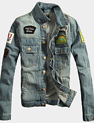 cheap -Men's Fashion Denim Jacket / Long Sleeve