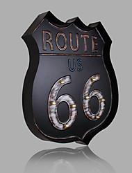 E-HOME® Metal Wall Art LED Wall Decor,Route 66 Black LED Wall Decor One PCS