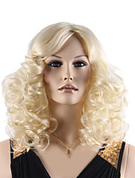 High Quality Natural Long Curly Light Blonde Color Synthetic Wigs For White Women