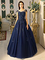 Ball Gown Jewel Neck Floor Length Lace Tulle Formal Evening Dress with Beading Lace Sequins by QZ