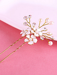 Women's Gold Diasy Flower Shape U Hair Stick Pin for Wedding Party Hair Jewelry with Pearl Crytsal