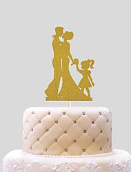 baratos -Decorações de Bolo Tema Praia Tema Clássico Casal Clássico Papel de Cartão Casamento com Laço 1 PPO
