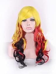 cheveux ondes longues de longueur armure européenne multi-couleur jaune noir rouge mix couleur cosplay perruque synthétique