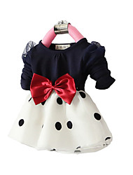 cheap -Toddler Girls' Dot / Bow Going out Black & White Polka Dot / Patchwork Long Sleeve Long Dress