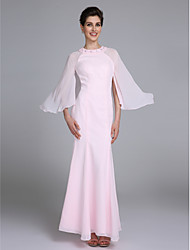Mermaid / Trumpet Jewel Neck Ankle Length Chiffon Mother of the Bride Dress with Beading by LAN TING BRIDE®