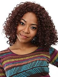 Ženy #33 Tmavěhnědá Kudrnaté Afro Umělé vlasy Bez krytky černá paruka paruky