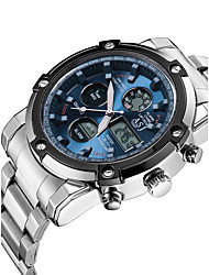 cheap -ASJ Men's Sport Watch / Wrist Watch / Digital Watch Japanese Chronograph / Water Resistant / Water Proof / LCD Stainless Steel Band Luxury / Fashion / Dress Watch White / Dual Time Zones / Stopwatch