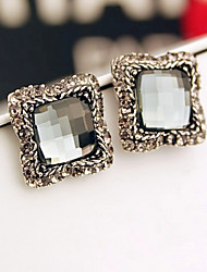 cheap -Stud Earrings Crystal Rhinestone Alloy Fashion Square Silver Jewelry Party Daily Casual 1 pair