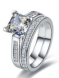 7*7mm Princess Cut SONA Diamond Rings Set for Women Princess Mounting Semi Mount Genuine 925 Silver Jewelry Engagement