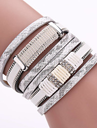 New Layers Of Pu Leather Fashion Magnet Buckle Bracelet Men And Women With Drill Jewelry Gifts