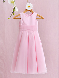cheap -A-Line Ankle Length Flower Girl Dress - Organza Satin Sleeveless Jewel Neck with Bow(s) Ruched by LAN TING BRIDE®