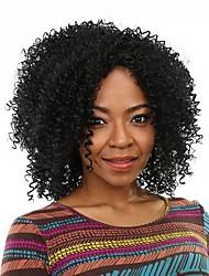 Ženy Černá Kinky Curly Umělé vlasy Bez krytky černá paruka paruky