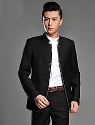 abordables -Noir / Gris Couleur Pleine Coupe Slim Viscose Costume - Col Mandarin Droit à plusieurs boutons / costumes