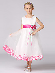 A-Line Tea Length Flower Girl Dress - Satin Tulle Sleeveless Jewel Neck with Flower by YDN