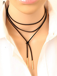 cheap -Women's Leather Alloy Choker Necklace Tattoo Choker - Leather Alloy Personalized Tattoo Style Long Fashion Gothic Punk Y Shaped Necklace