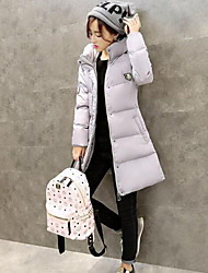 Women's Long Padded Coat,Simple Street chic Casual/Daily Solid-Cotton Polyester Without Filling Material Long Sleeves Hooded