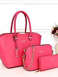 Women Bags All Seasons PU Bag Set 3 Pcs Purse Set for Event/Party Blue Black Blushing Pink Fuchsia